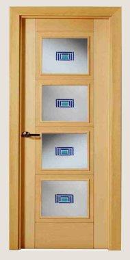 Puertas Lisas con lineas Mara Roble 4 Cristales